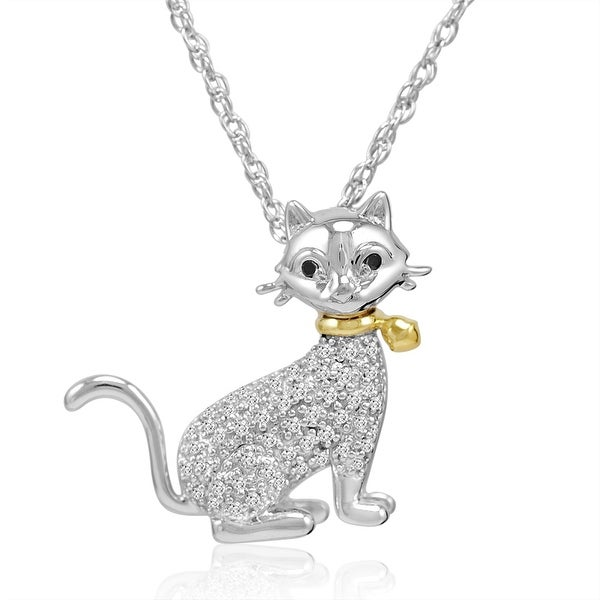 DISCONTINUED Silver and 14K Gold Black and White Diamond Cat Pendant-Necklace ( 1/10ct tw)