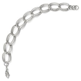 Italian 14k White Gold Polished & Diamond Cut Link Bracelet - 7.25 inches