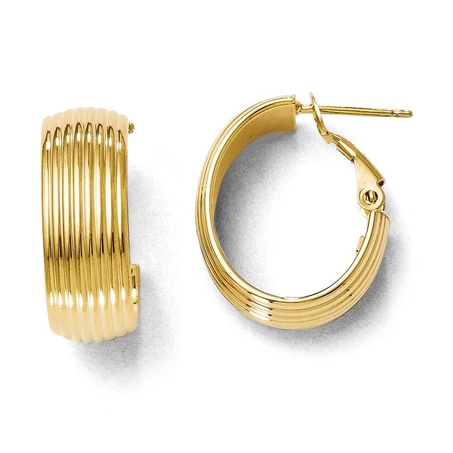 Italian 14k Gold Polished and Texured Hoop Earrings