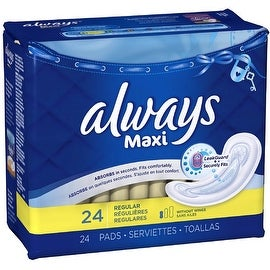 Always Maxi Regular Non-Wings Unscented Pads 24 ea