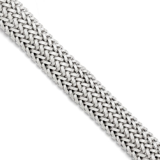 Italian Sterling Silver Polished Mesh Braided Bracelet - 7.5 inches