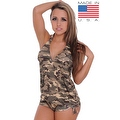 Women's Camo 2-Piece Bikini Bathing Tankini & String Shorts Beach Swimwear Swimsuit - Thumbnail 4