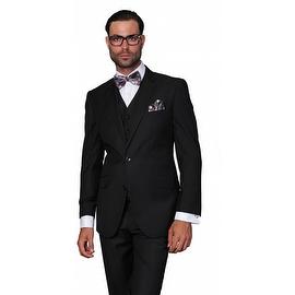 ST-100 Men's 3pc Solid Black Suit, Modern Fit, 2 Button, 2 Side Vent, Flat Front Pants
