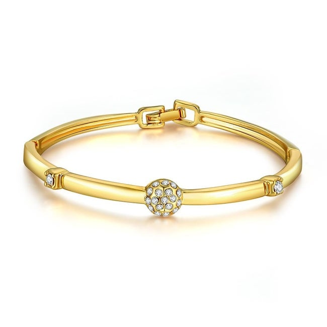 18K Gold Plated Crystal Pave Bangle