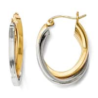 14k Two-Tone Gold Polished Oval Hinged Hoop Earrings