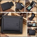 New Men's Bifold Wallet Black Genuine Leather Purse Credit Card Money Holder ID Card Clutch Handbag - Thumbnail 0