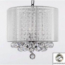 Crystal Chandelier Lighting With Large White Shade & Balls H15 x W15