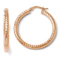 Italian 14k Rose Gold Polished and Textured Earrings