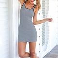 Women's Sundress Sleeveless Striped Camisole Tank Dress Beach Dress - Thumbnail 6
