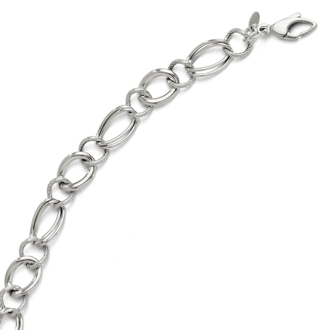 Italian 14k White Gold Polished Fancy Link Bracelet - 8 inches