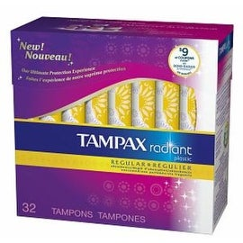 Tampax Radiant Tampons with Plastic Applicators Regular Absorbency Unscented 32 Each