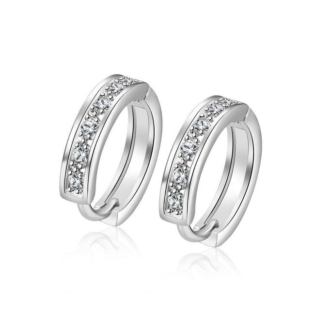 18K White Gold Plated Huggies Clip Hoop Earrings