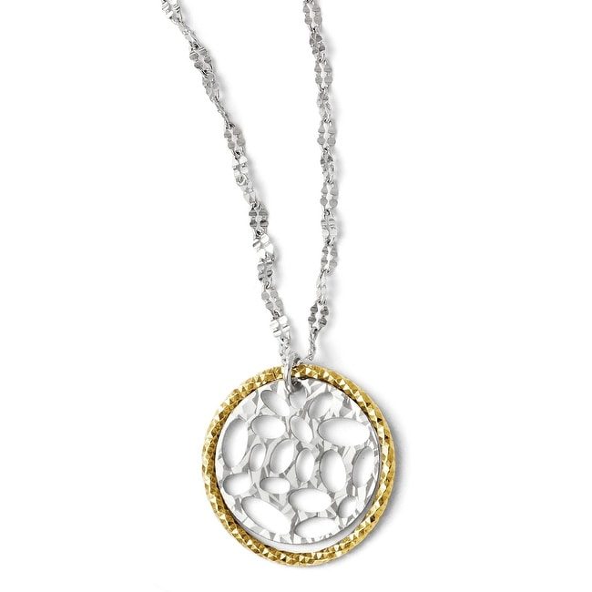 Italian Sterling Silver Gold-tone Flash Plated Necklace with 2in ext
