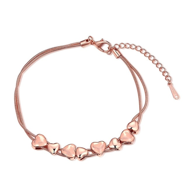 Vienna Jewelry 18K Rose Gold Plated Heart Bracelet