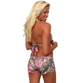 Women's 2-Piece Camo Bikini Pink True Timber Halter Top & Hot Shorts Beach Swimwear Swimsuit - Thumbnail 2