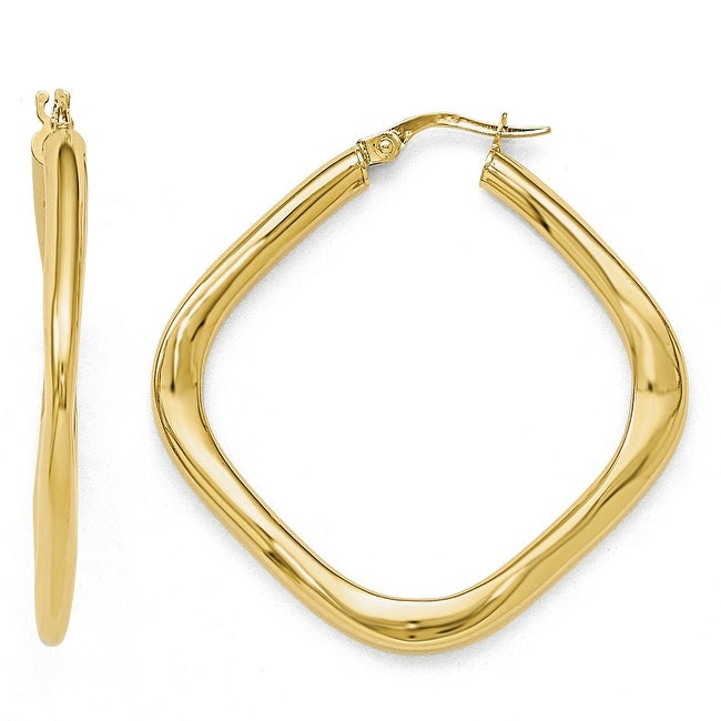Italian 10k Gold Polished Large Square Hoop Earrings