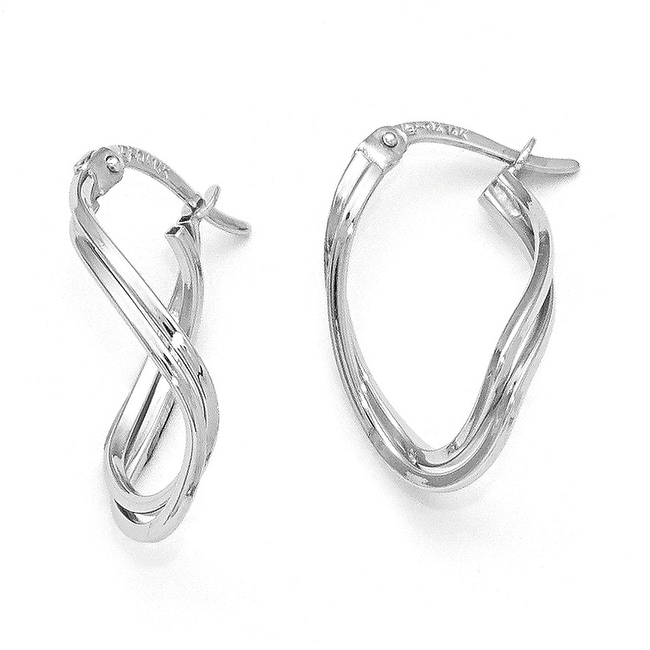 14k White Gold Polished Oval Hinged Hoop Earrings