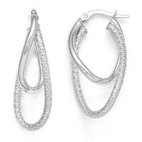Italian 14k White Gold Polished and Textured Hinged Hoop Earrings