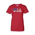 Women's USA Flag Juniors T-Shirt Stars & Stripes American Patriotic Pride Tee - Thumbnail 3