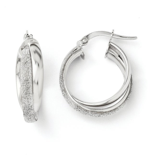 Italian 14k White Gold Fancy Glimmer Infused Hoop Earrings