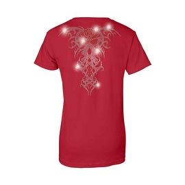 Women's Juniors T-Shirt Rhinestones Angel Wings Red Rose Tribal Tattoo Biker Tee