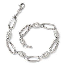 Italian 14k White Gold Polished Textured & Diamond Cut Link Bracelet - 7.5 inches
