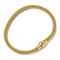 Italian Sterling Silver Gold-tone 18k Flash Plated Magnetic Bracelet