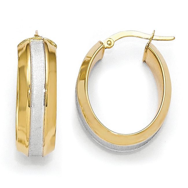 Italian 14k Gold with White Rhodium-plated Polished & Brushed Hoop Earrings