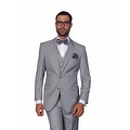ST-100 Men's 3pc Solid GREY Suit, Modern Fit, 2 Button, 2 Side Vent, Flat Front Pants - Thumbnail 0