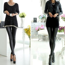 Fashion Sexy Women High Waist Matte Black Stretchy Faux Leather Pants Leggings