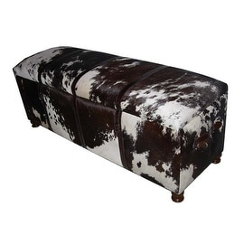 Multi Hair on Leather Trunk Bench