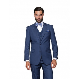 ST-100 Men's 3pc Solid INDIGO Suit, Modern Fit, 2 Button, 2 Side Vent, Flat Front Pants