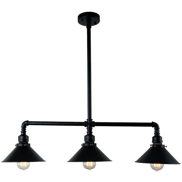3 light black industrial pendant lamp light chandelier