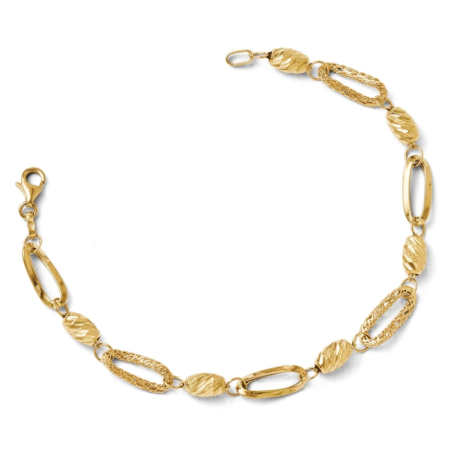 Italian 14k Gold Polished Textured & Diamond Cut Fancy Link Bracelet - 7.5 inches