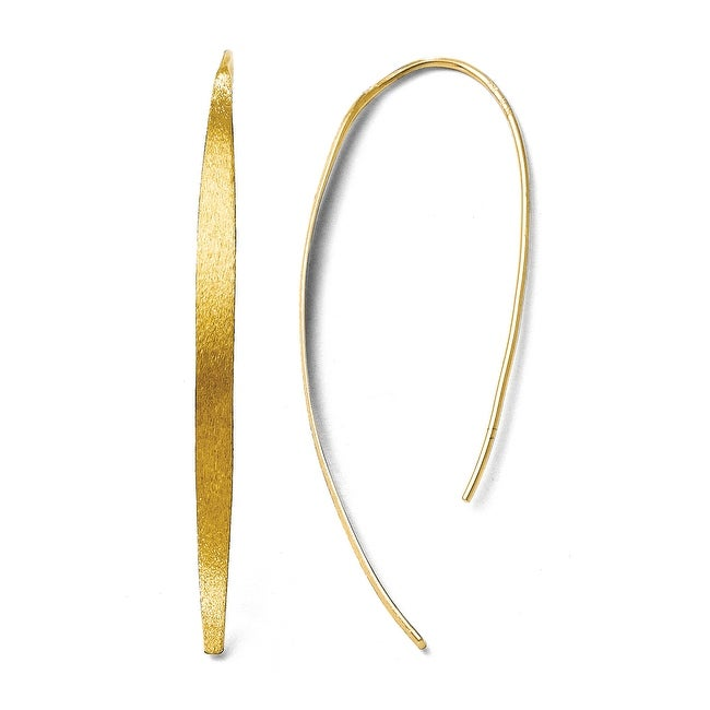 Sterling Silver Gold-plated Polished and Brushed Earrings