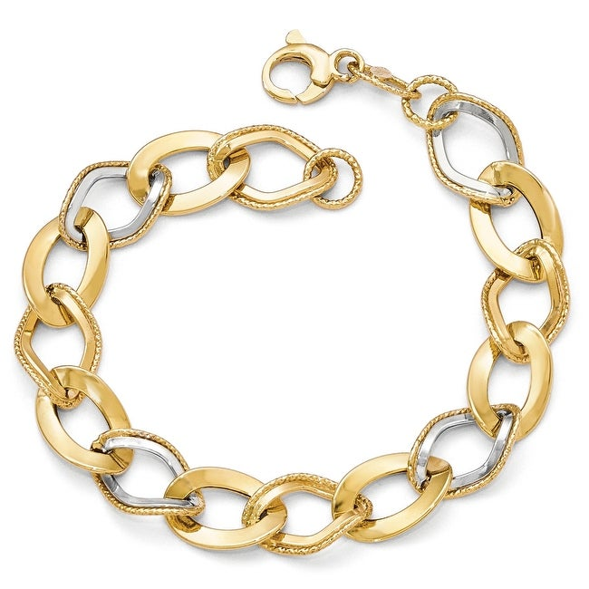 Italian 14k Gold with White Rhodium-plated Polished & Textured Link Bracelet - 8 inches