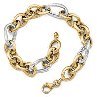 Italian 14k Two-Tone Gold Polished Fancy Link Bracelet - 8 inches