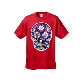 Men's T-Shirt Funny Sugar Skull Purple Galaxy Hipster Day of the Dead Victorian Tee