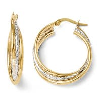 Italian 14k Two-Tone Gold Polished and Textured Twisted Hoop Earrings