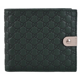 New Gucci Men's 365477 Green Micro GG Guccissima Leather Bifold Wallet