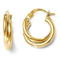Italian 14k Gold Polished Twisted Double Hoop Earrings