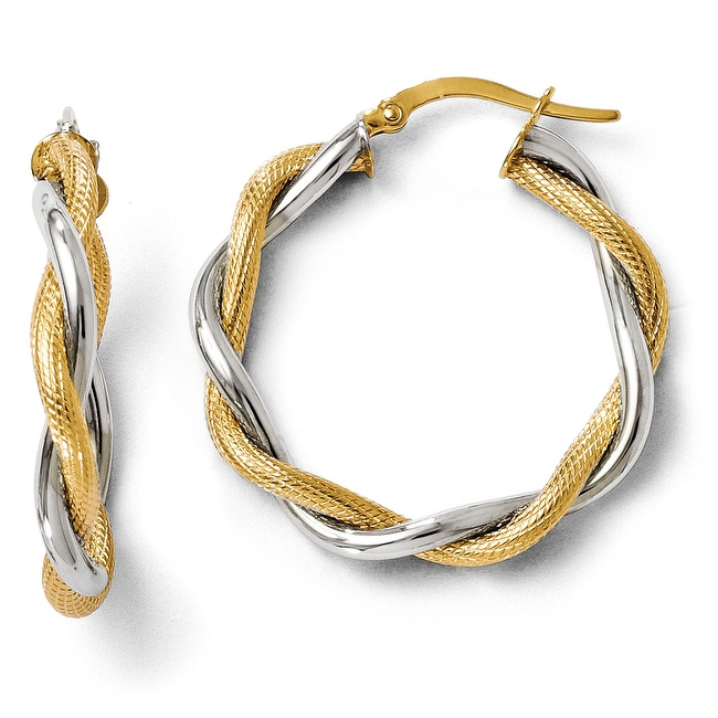 Italian 14k Two-Tone Gold Polished &Textured Twisted Hoop Earrings