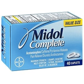 Midol Complete Maximum Strength Pain Reliever Caplets 40 ea