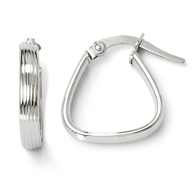 Italian 10k White Gold Polished and Textured Hinged Hoop Earrings