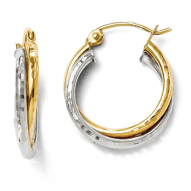 14k Two-Tone Gold Diamond Cut Hinged Hoop Earrings
