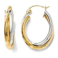 14k Two-Tone Gold Polished Hinged Hoop Earrings