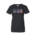 Women's Juniors T-Shirt United States USA Flag American Pride Stars & Stripes Tee - Thumbnail 2