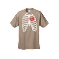 MEN'S FUNNY T-SHIRT Rib Cage With Red Heart Beating SKELETON BODY CHEST BONES - Thumbnail 3