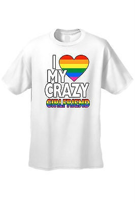 Unisex T-Shirt Lgbt I Love My Crazy Girlfriend Gay Lesbian Rainbow Flag Pride