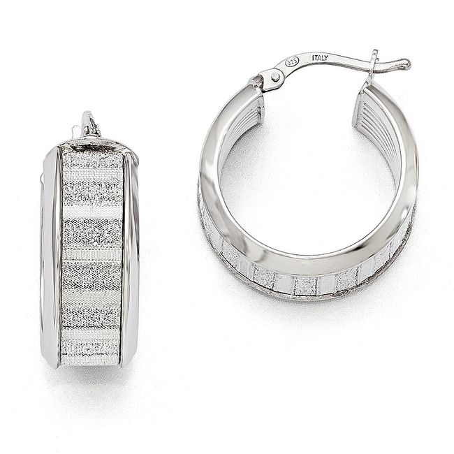 Italian Sterling Silver Polished Glimmer Infused Hoop Earrings